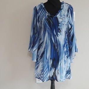 Hayley Matthews  Blue Sheer Tunic- Size Large